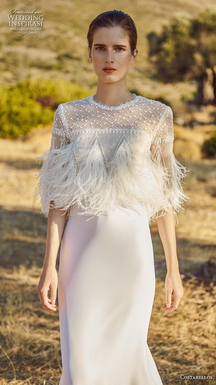 costarellos fall 2020 bridal half sleeves jewel neck heavily embellised bodice feathers elegant glamorous sheath fit and flare wedding dress (13) mv