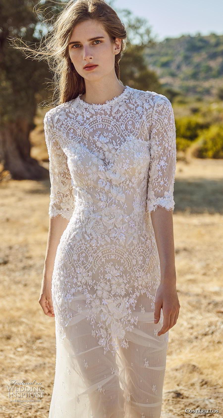 costarellos fall 2020 bridal half sleeves jewel neck heavily embellished bodice romantic soft a  linw wedding dress (14) mv