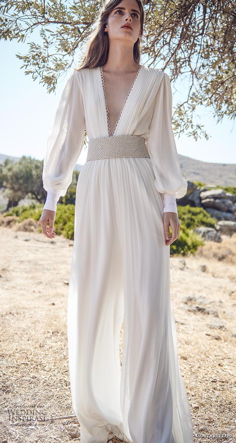 costarellos fall 2020 bridal long bishop sleeves deep v neck pleated bodice pleated skirt simple sexy bohemian jumpsuit wedding dress (9) mv