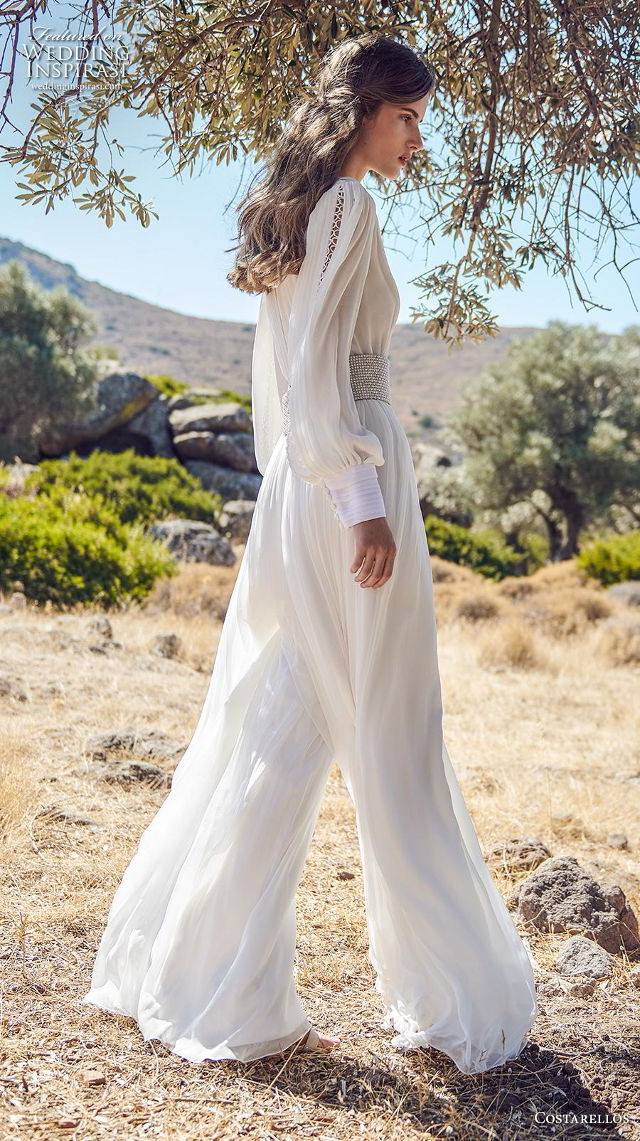 costarellos fall 2020 bridal long bishop sleeves deep v neck pleated bodice pleated skirt simple sexy bohemian jumpsuit wedding dress (9) sdv