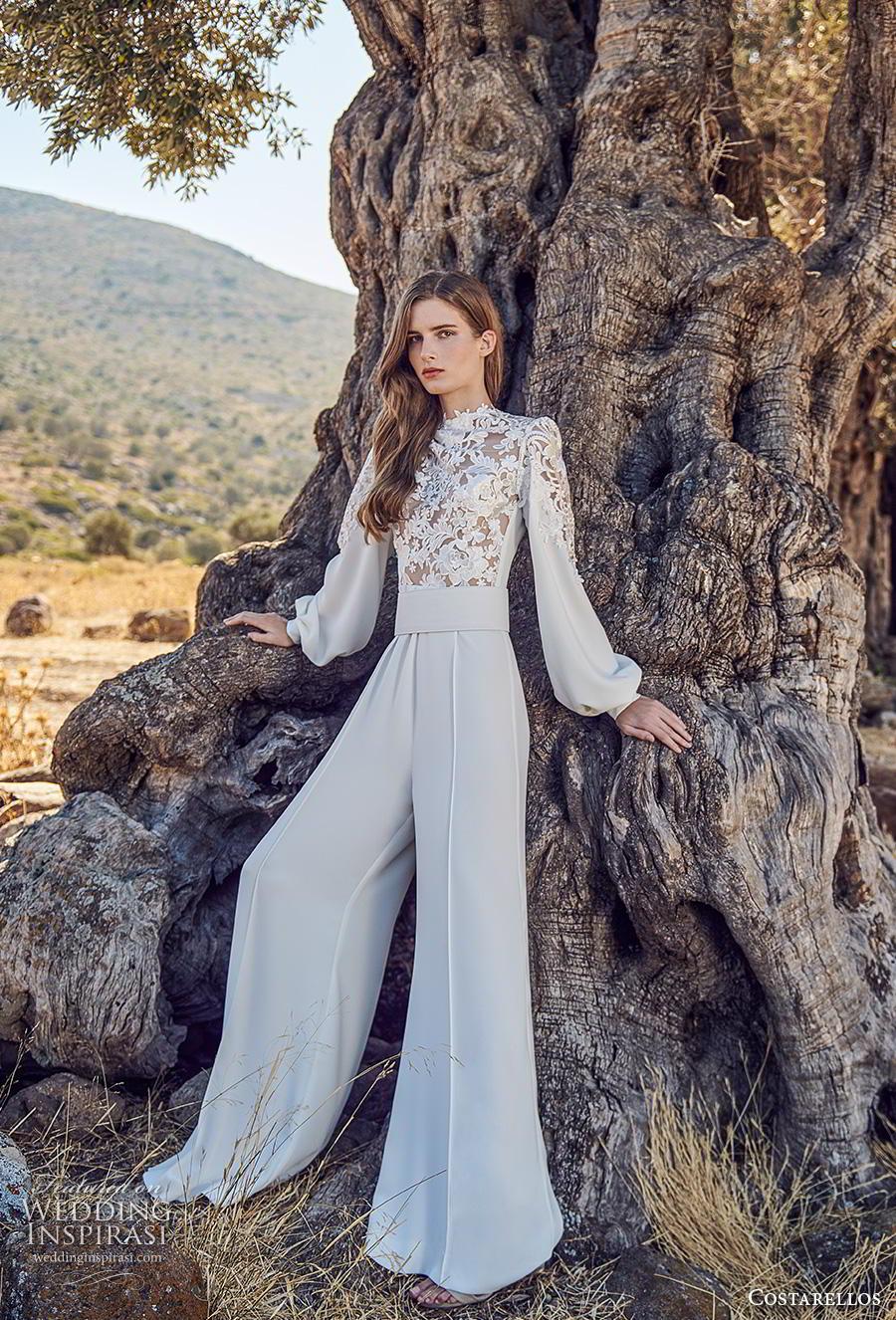 costarellos fall 2020 bridal long bishop sleeves high neck heavily embellished bodice modern jumpsuit wedding dress (12) mv