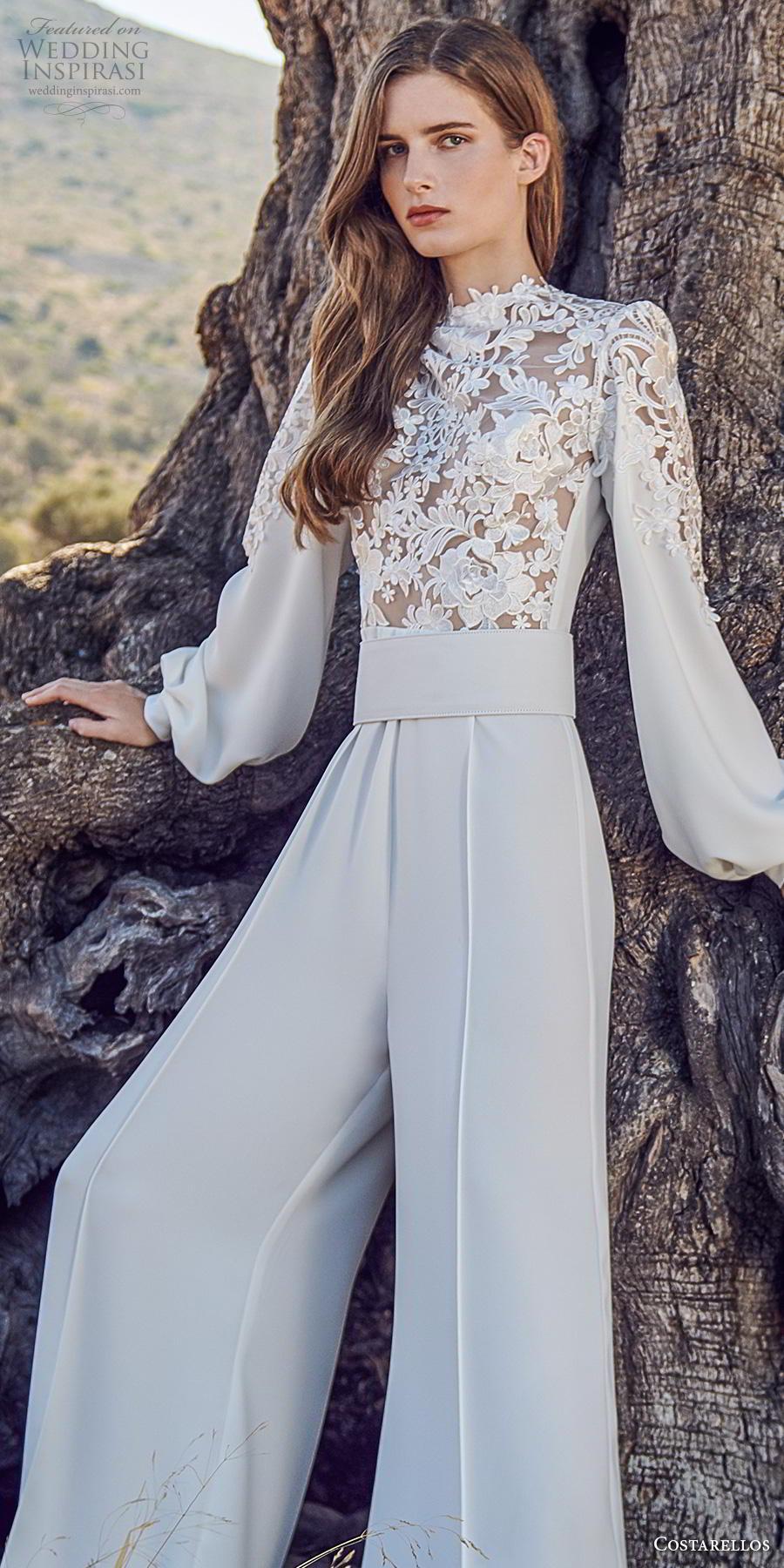 costarellos fall 2020 bridal long bishop sleeves high neck heavily embellished bodice modern jumpsuit wedding dress (12) zv