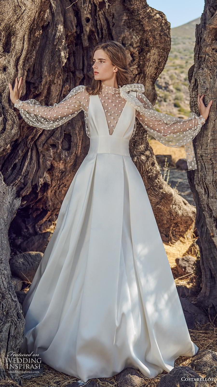 costarellos fall 2020 bridal long bishop sleeves illusion high neck deep v neck pleated bodice pleated skirt simple romantic a  line wedding dress (6) mv