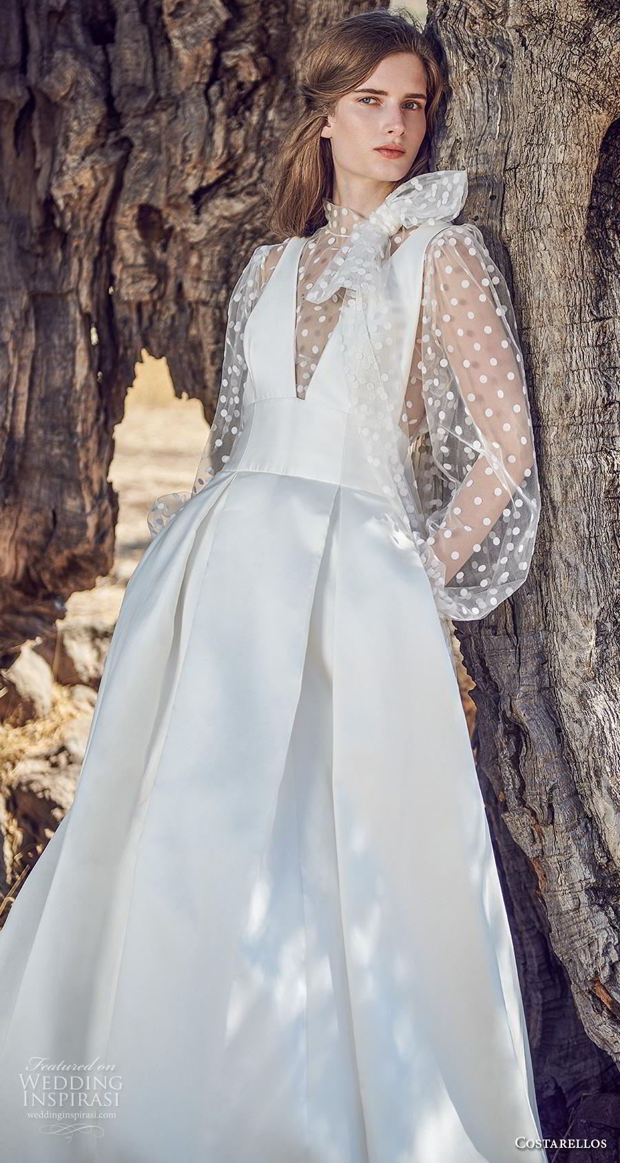 costarellos fall 2020 bridal long bishop sleeves illusion high neck deep v neck pleated bodice pleated skirt simple romantic a  line wedding dress (6) zv