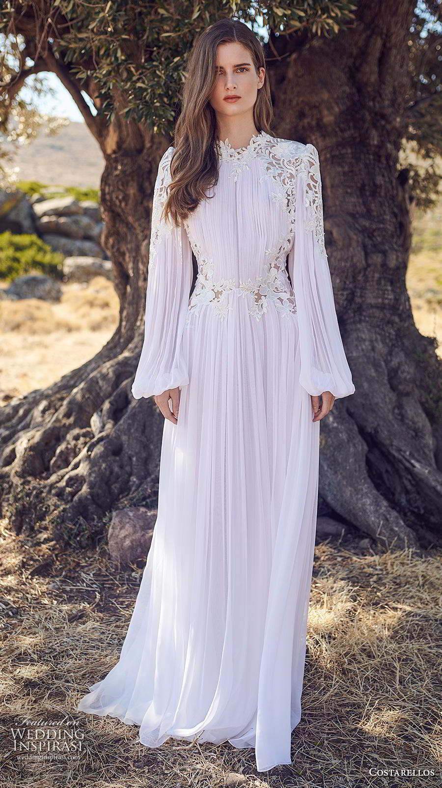costarellos fall 2020 bridal long bishop sleeves jewel neckline pleated bodice pleated skirt romantic bohemian modified a  line wedding dress sweep train (5) mv