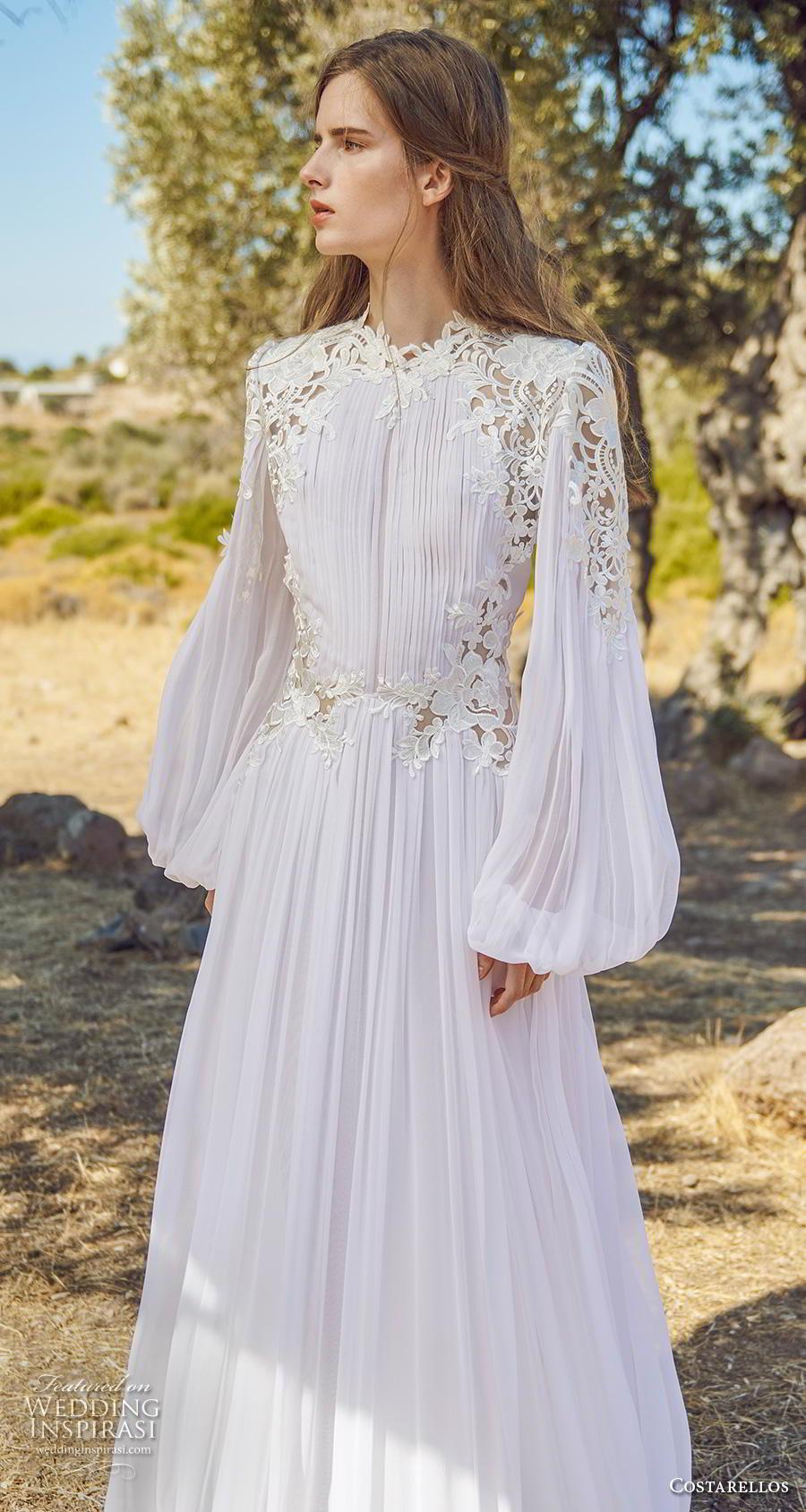 costarellos fall 2020 bridal long bishop sleeves jewel neckline pleated bodice pleated skirt romantic bohemian modified a  line wedding dress sweep train (5) zv