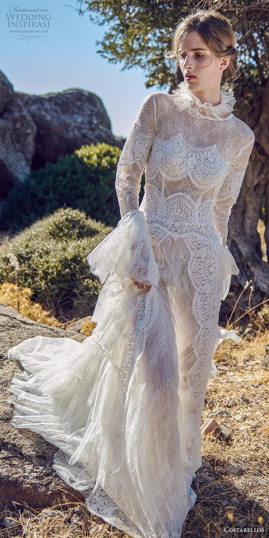 costarellos fall 2020 bridal long poet sleeves high neck full embellishment vintage romantic modified a  line wedding dress chapel train (7) mv