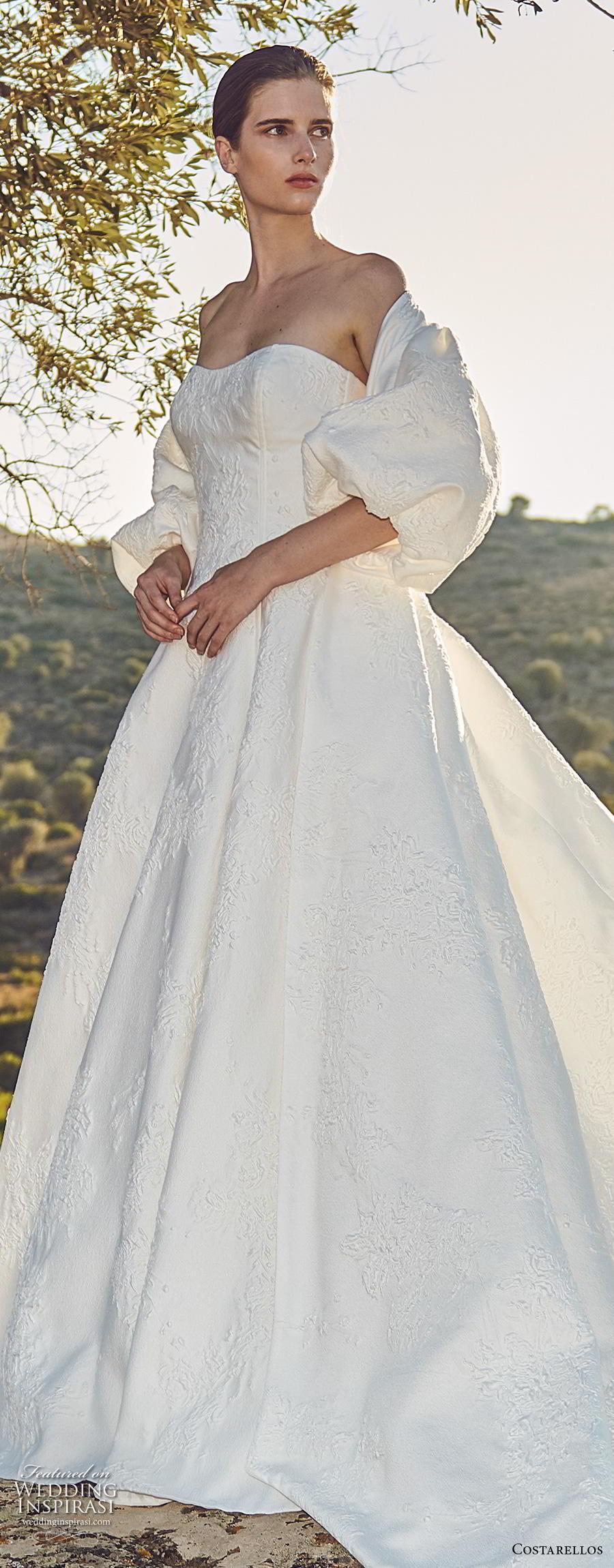 costarellos fall 2020 bridal off the shoulder puff sleeves strapless semi sweetheart neckline light embellishment ball gown a  line wedding dress royal train (2) lv
