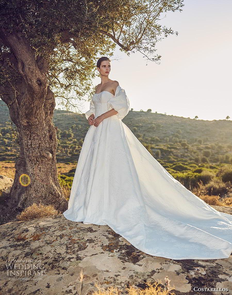 costarellos fall 2020 bridal off the shoulder puff sleeves strapless semi sweetheart neckline light embellishment ball gown a  line wedding dress royal train (2) mv