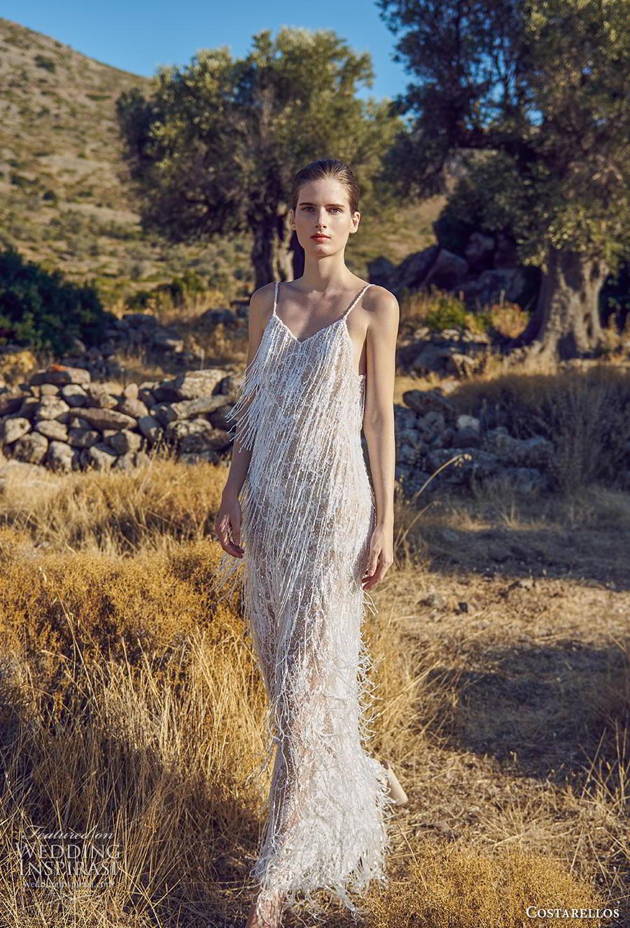 costarellos fall 2020 bridal sleeveless spaghetti strap diamond neck full embellishment fringes frilly glamorous column wedding dress sweep train (10) mv