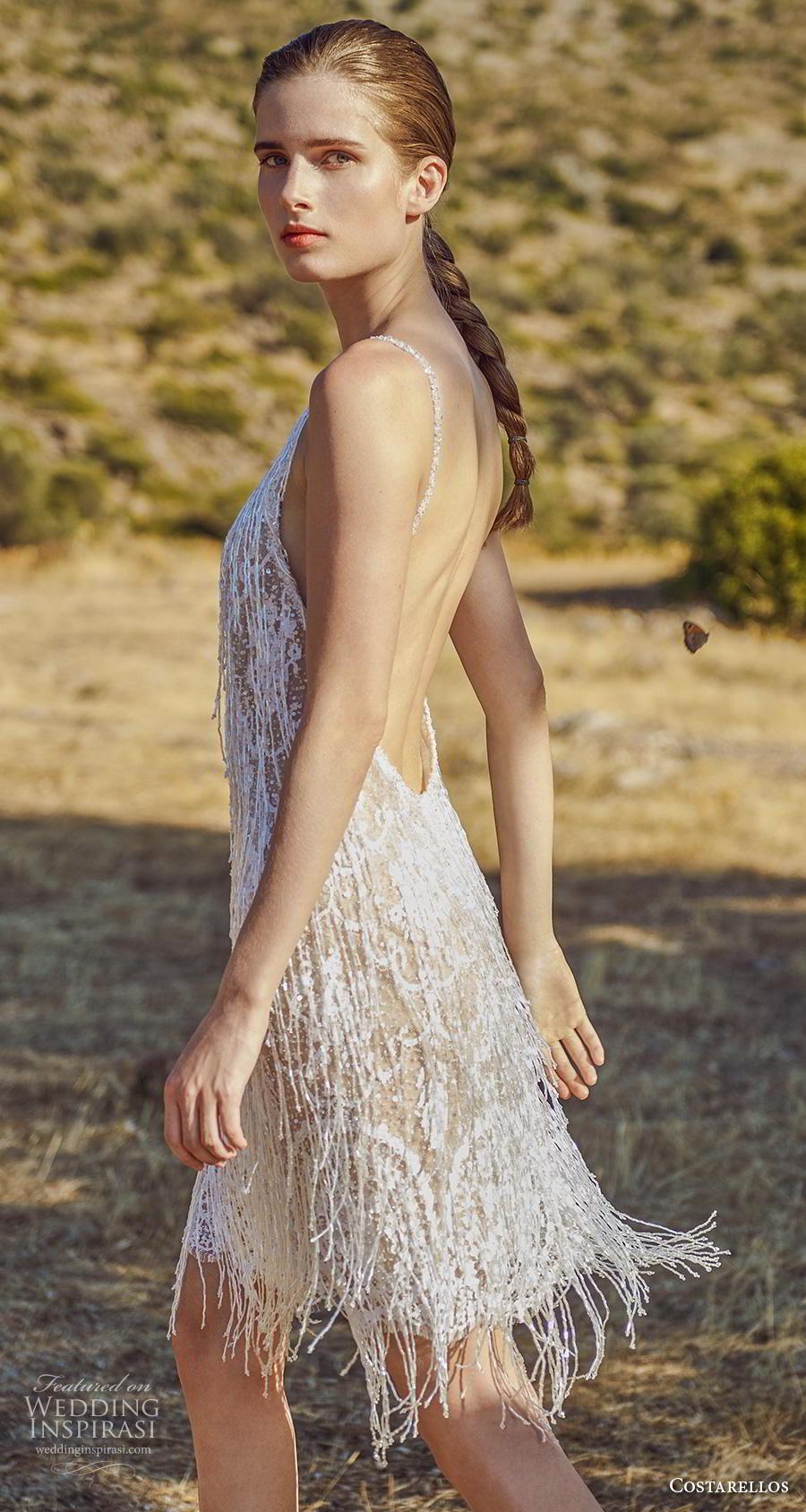 costarellos fall 2020 bridal sleeveless spaghetti strap diamond neck full embellishment fringes frilly glamorous short wedding dress (11) mv