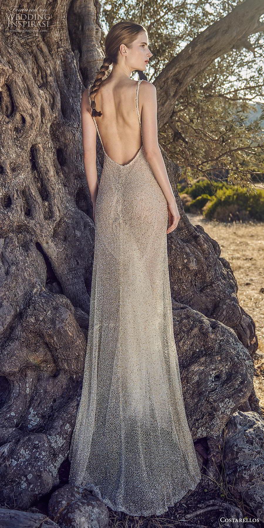 costarellos fall 2020 bridal sleeveless with strap v neck full embellishment glamorous elegant champagne sheath wedding dress backless low scoop back sweep train (4) bv