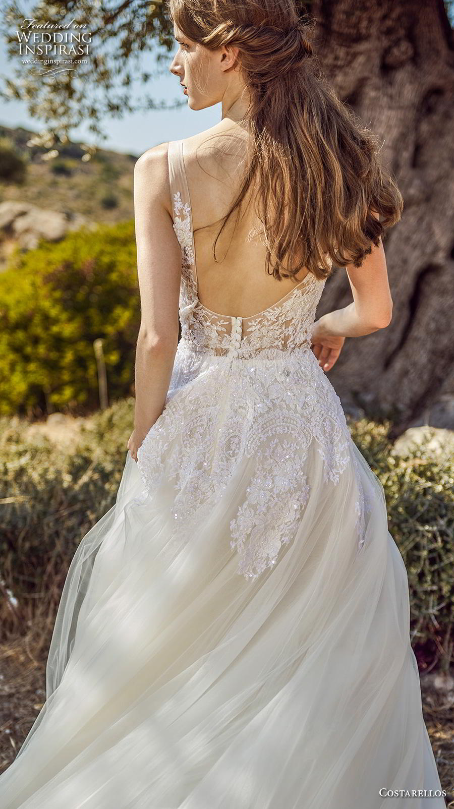 costarellos fall 2020 bridal sleeveless with strap v neck heavily embellished bodice romantic a  line wedding dress backless scoop back chapel train (15) bv