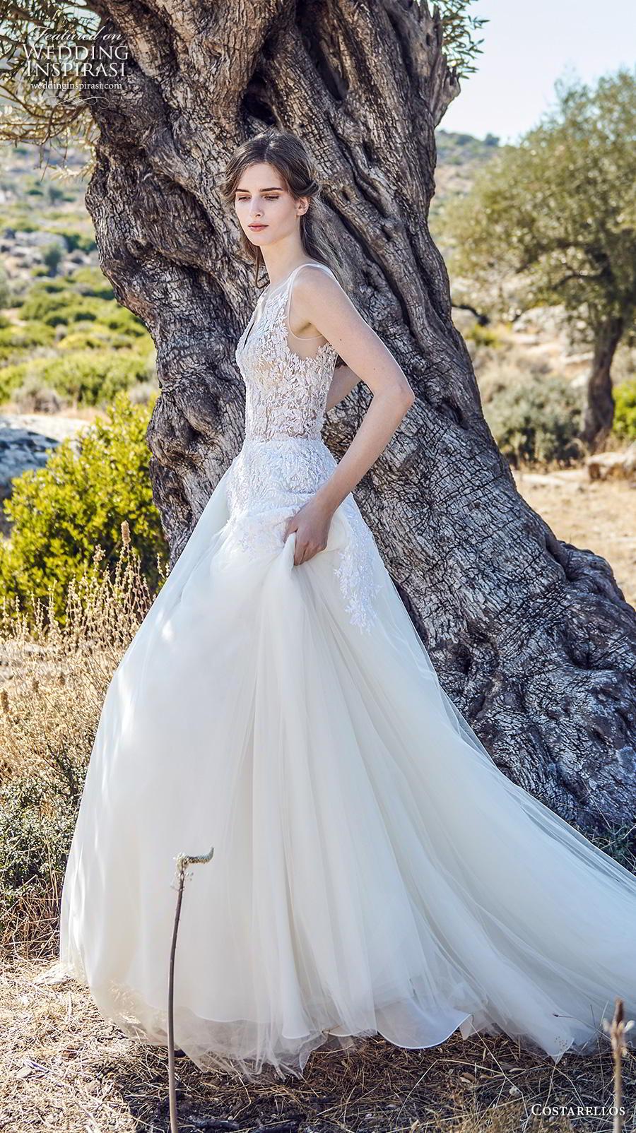 costarellos fall 2020 bridal sleeveless with strap v neck heavily embellished bodice romantic a  line wedding dress backless scoop back chapel train (15) mv
