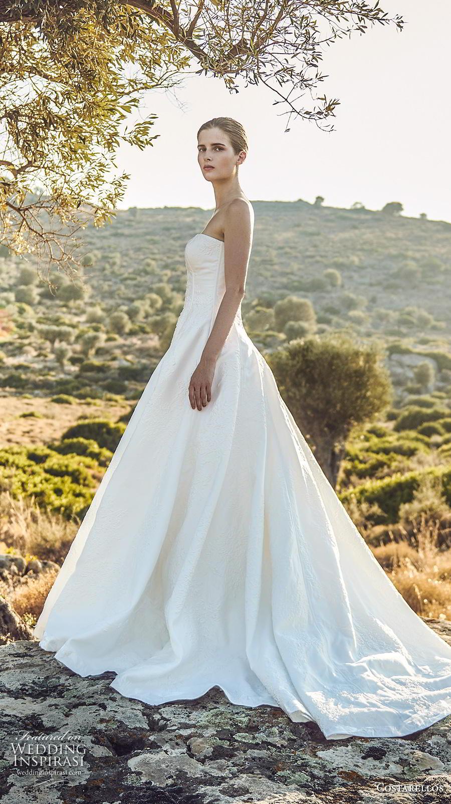 costarellos fall 2020 bridal strapless semi sweetheart neckline light embellishment ball gown a  line wedding dress royal train (2) mv