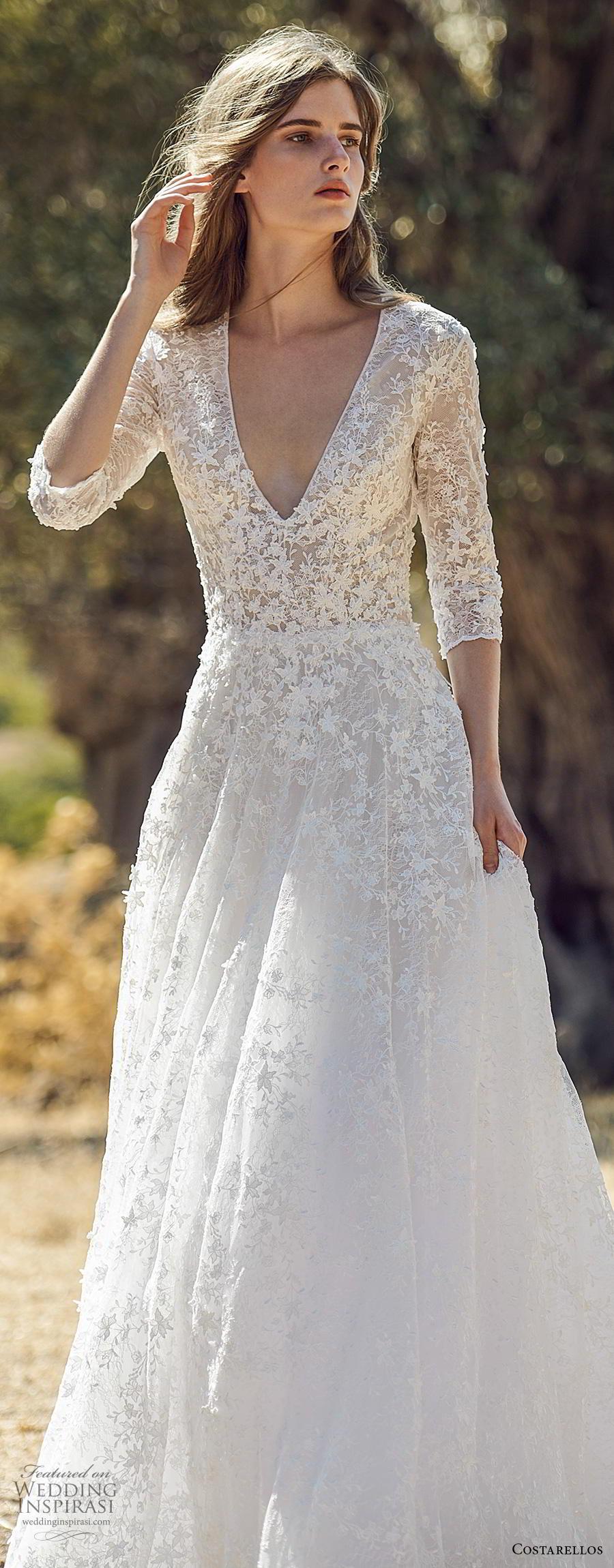 costarellos fall 2020 bridal three quarter sleeves deep v neck heavily embellished bodice romantic a  line wedding dress (8) lv