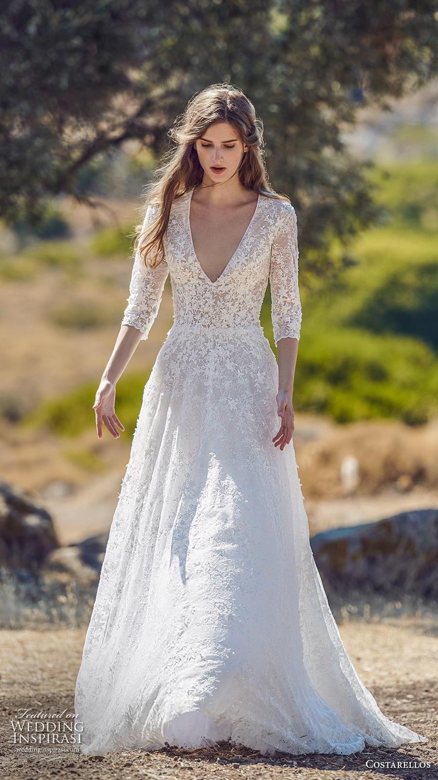 costarellos fall 2020 bridal three quarter sleeves deep v neck heavily embellished bodice romantic a  line wedding dress (8) mv