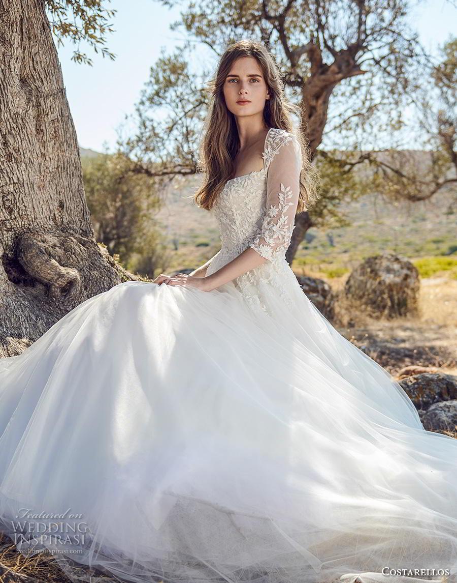 costarellos fall 2020 bridal three quarter sleeves square neckline heavily embellished bodice romantic a  line wedding dress (1) mv