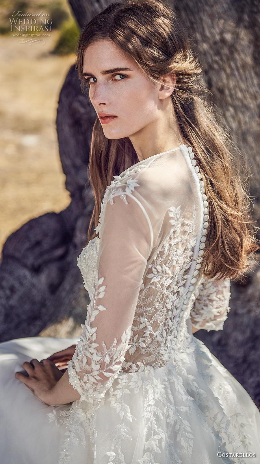 costarellos fall 2020 bridal three quarter sleeves square neckline heavily embellished bodice romantic a  line wedding dress (1) zbv