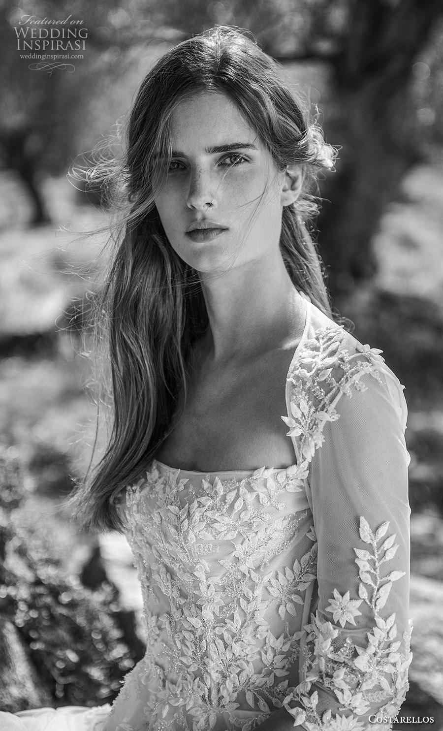 costarellos fall 2020 bridal three quarter sleeves square neckline heavily embellished bodice romantic a  line wedding dress (1) zv