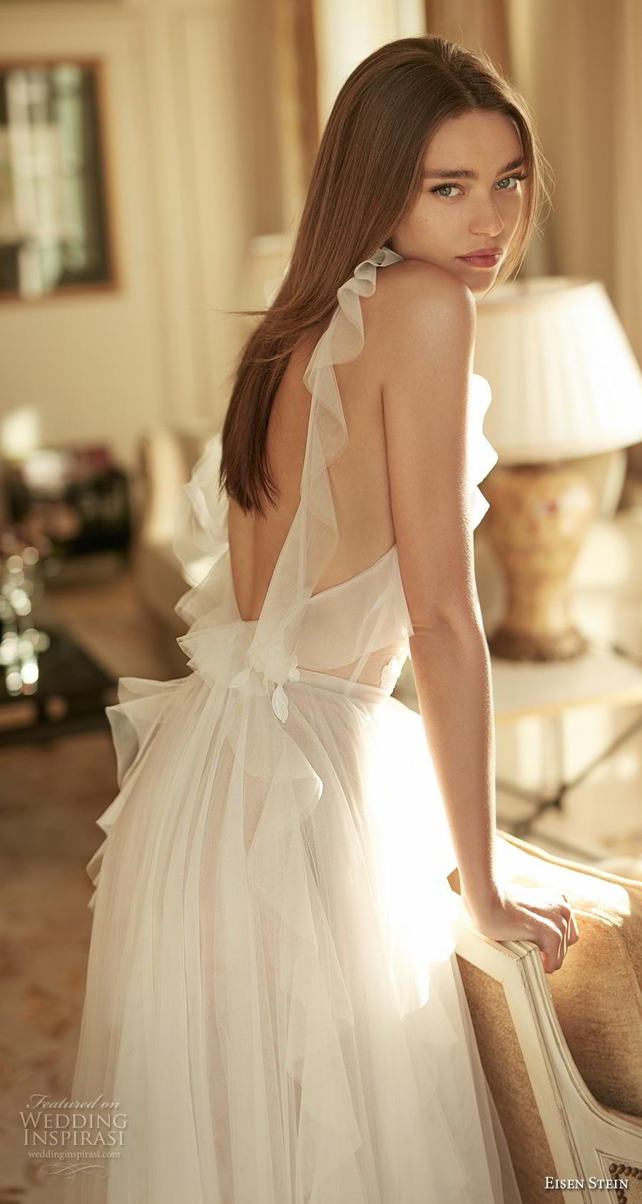 eisen stein fall 2020 bridal sleeveless halter neck heavily embellished sheer bodice tulle skirt romantic soft a  line wedding dress backless medium train (7) bv