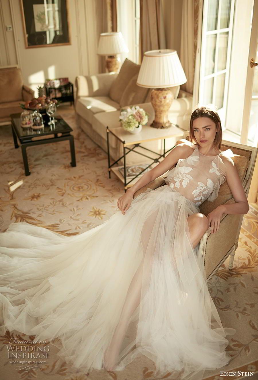 eisen stein fall 2020 bridal sleeveless halter neck heavily embellished sheer bodice tulle skirt romantic soft a  line wedding dress backless medium train (7) mv