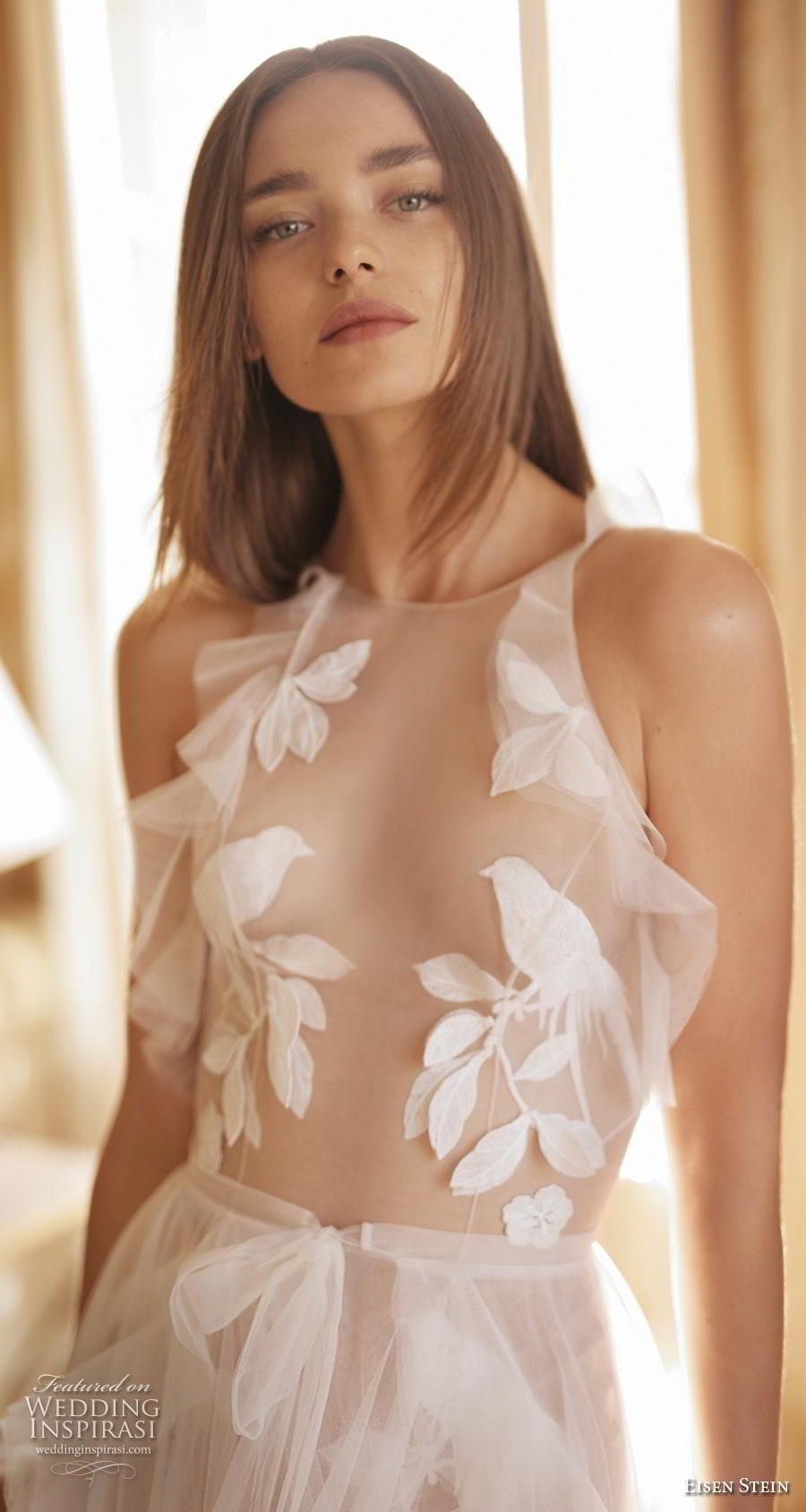 eisen stein fall 2020 bridal sleeveless halter neck heavily embellished sheer bodice tulle skirt romantic soft a  line wedding dress backless medium train (7) zv