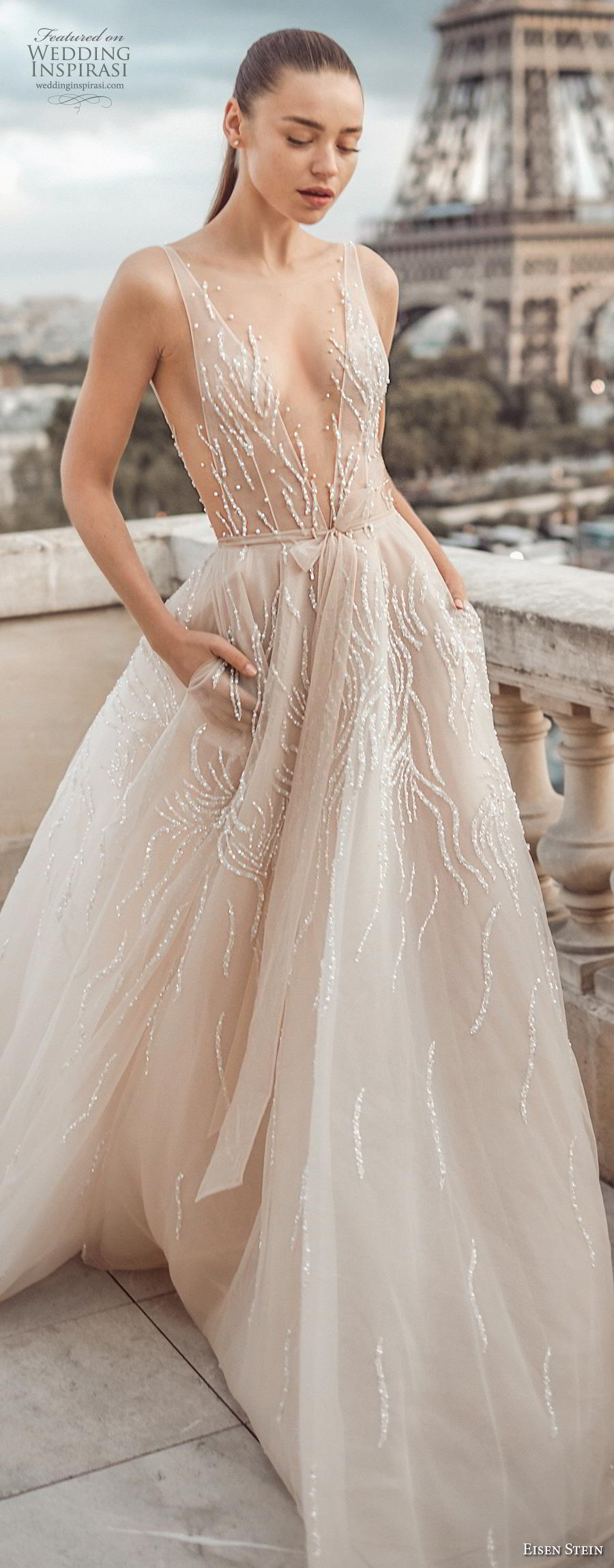 eisen stein fall 2020 bridal sleeveless with strap deep plunging v neck light embellishment romantic sexy nude color a  line wedding dress with pockets backless v back chapel train (6) zv