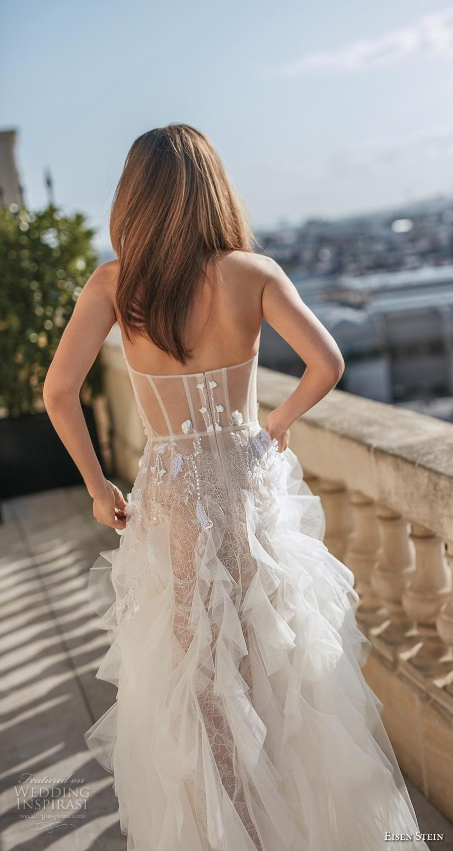 eisen stein fall 2020 bridal strapless sweetheart neckline heavily embellished bodice ruffled skirt romantic a  line wedding dress mid back medium train (8) zbv