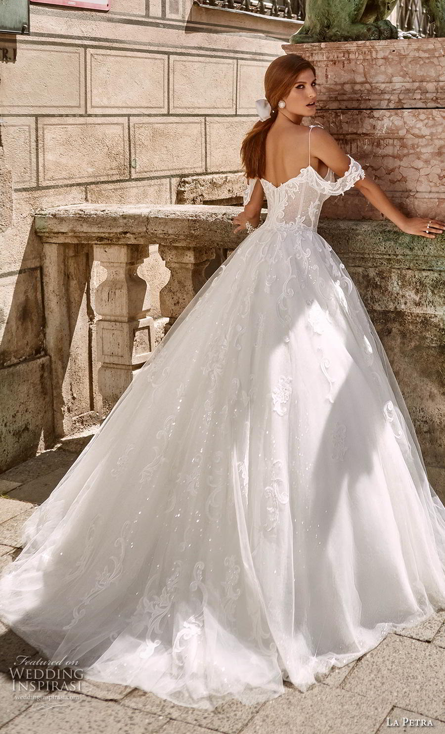 la petra 2020 bridal cold shoulder spaghetti strap sweetheart neckline heavily embellished bodice fairy tale princess ball gown a  line wedding dress mid back chapel train (16) bv