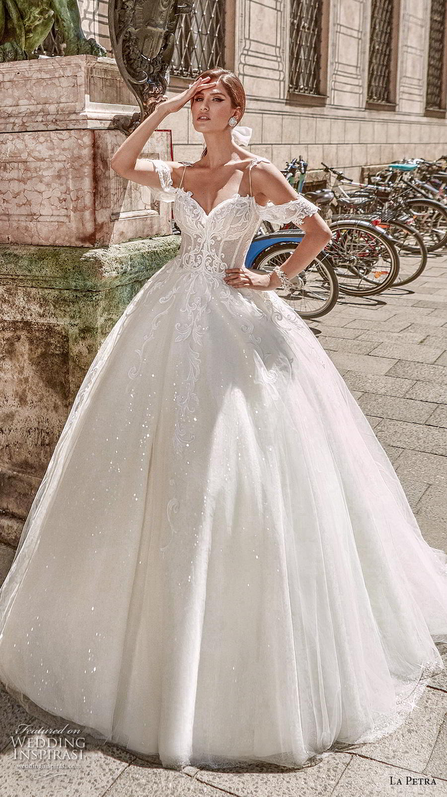 la petra 2020 bridal cold shoulder spaghetti strap sweetheart neckline heavily embellished bodice fairy tale princess ball gown a  line wedding dress mid back chapel train (16) mv