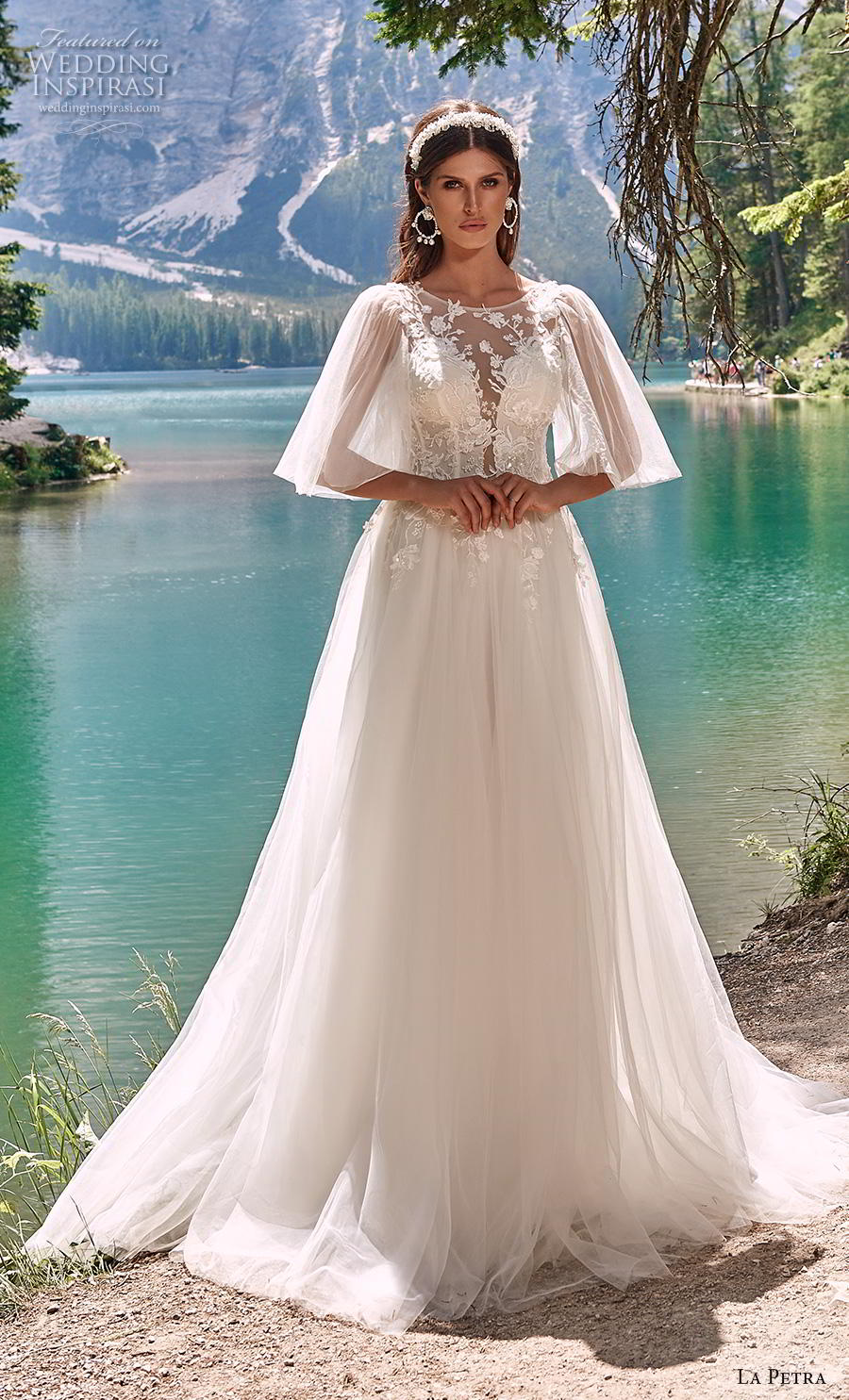 la petra 2020 bridal half flare sleeves illusion jewel plunging sweetheart neckline heavily embellished bodice romantic a  line wedding dress v back chapel train (7) mv