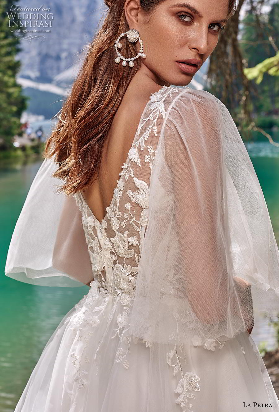 la petra 2020 bridal half flare sleeves illusion jewel plunging sweetheart neckline heavily embellished bodice romantic a  line wedding dress v back chapel train (7) zbv