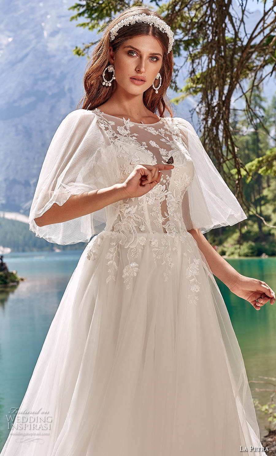 la petra 2020 bridal half flare sleeves illusion jewel plunging sweetheart neckline heavily embellished bodice romantic a  line wedding dress v back chapel train (7) zv