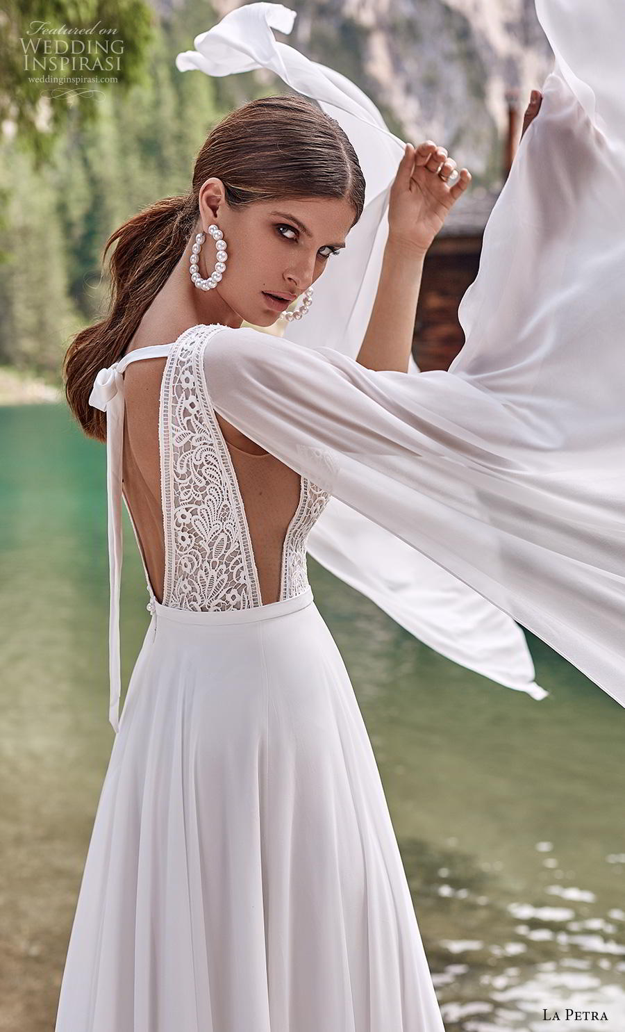 la petra 2020 bridal long hanging sleeves thick strap deep v neck heavily embellished bodice elegant grecian modified a  line wedding dress backless v back short train (1) zsdv
