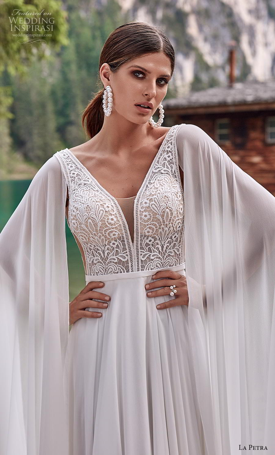 la petra 2020 bridal long hanging sleeves thick strap deep v neck heavily embellished bodice elegant grecian modified a  line wedding dress backless v back short train (1) zv