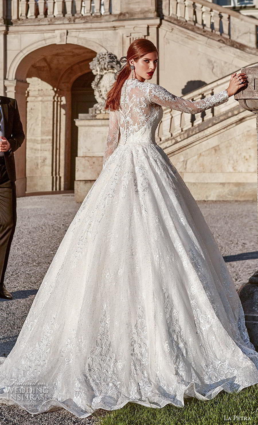 la petra 2020 bridal long sleeves illusion jewel plunging sweetheart neckline full embellishment princess ball gown a  line wedding dress lace back sweep train (17) bv
