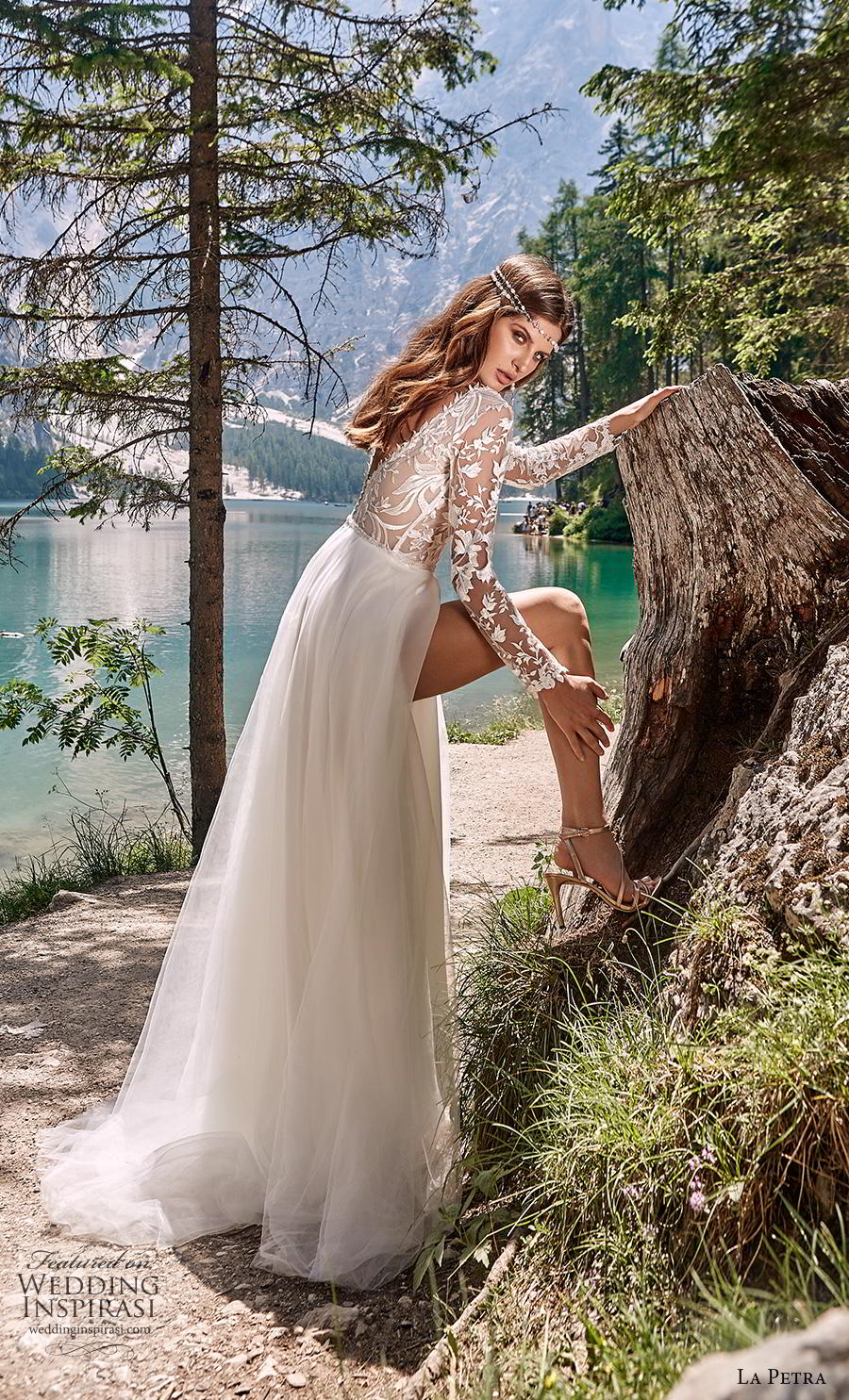 la petra 2020 bridal long sleeves v neck heavily embellished bodice slit skirt romantic romantic soft a  line wedding dress backless v back sweep train (5) bv