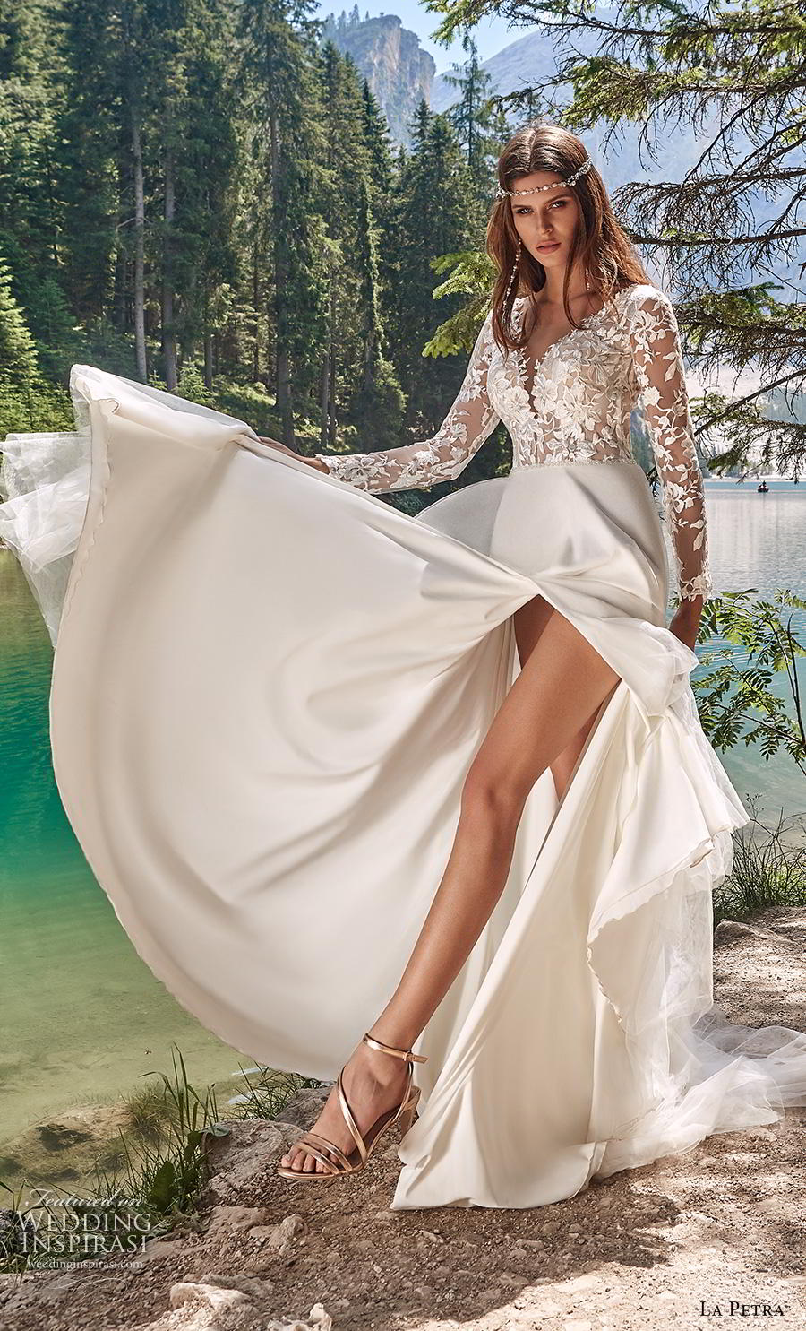 la petra 2020 bridal long sleeves v neck heavily embellished bodice slit skirt romantic romantic soft a  line wedding dress backless v back sweep train (5) mv