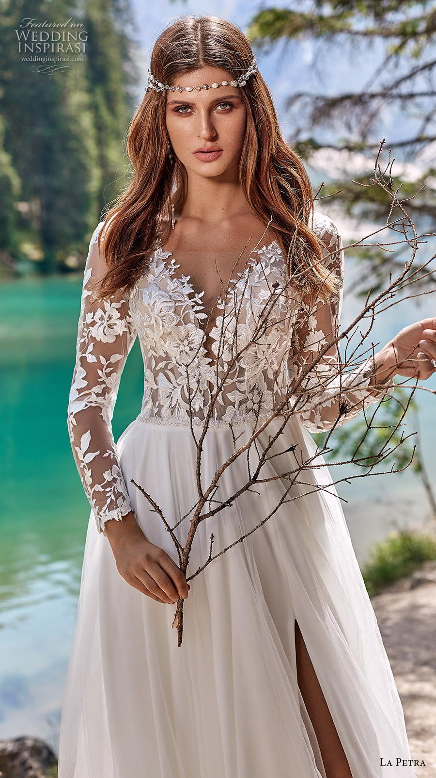 la petra 2020 bridal long sleeves v neck heavily embellished bodice slit skirt romantic romantic soft a  line wedding dress backless v back sweep train (5) zv