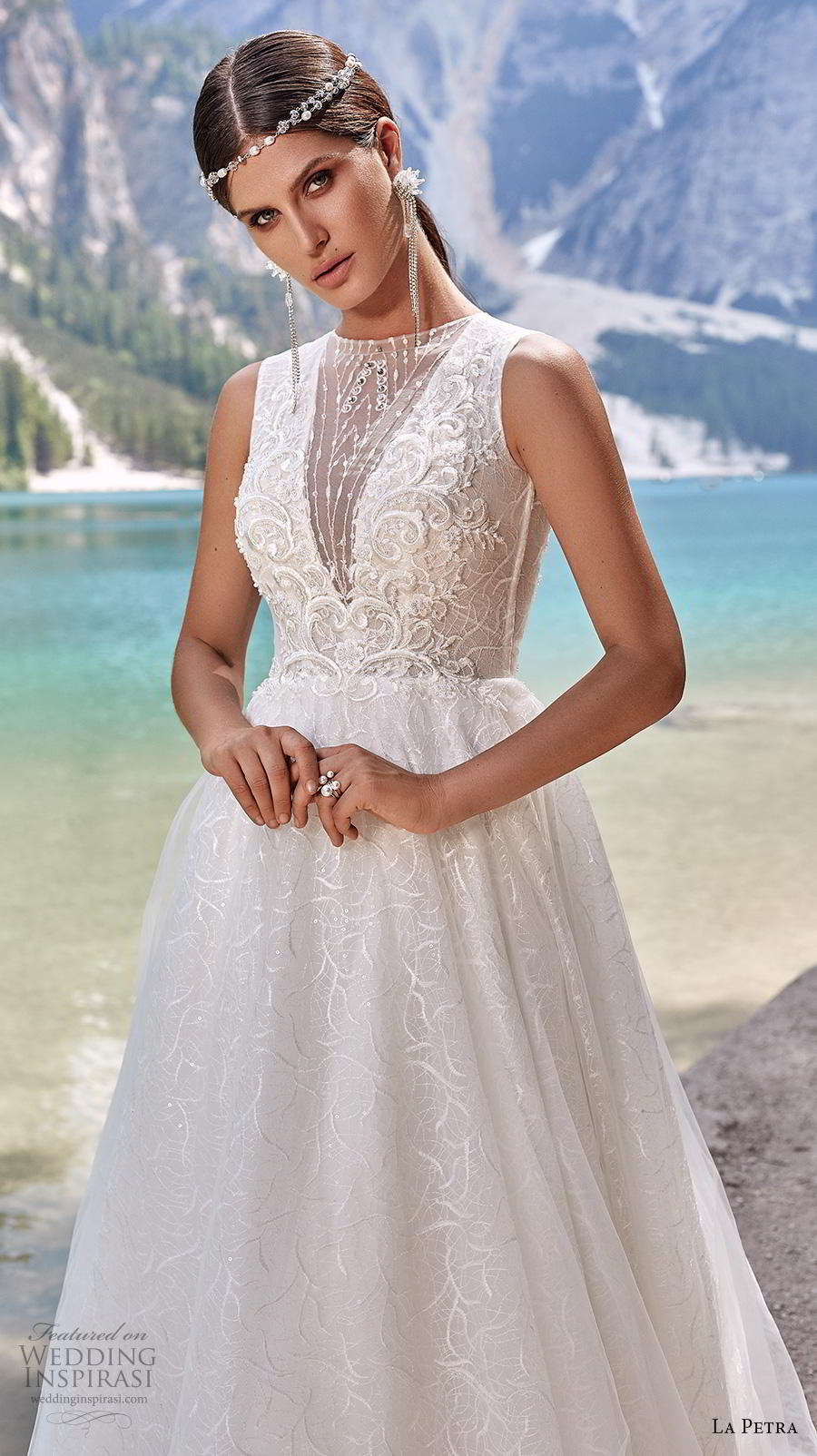 la petra 2020 bridal sleeveless illusion jewel deep v neck heavily embellished bodice elegant glamorous a  line wedding dress covered button back chapel train (2) zv