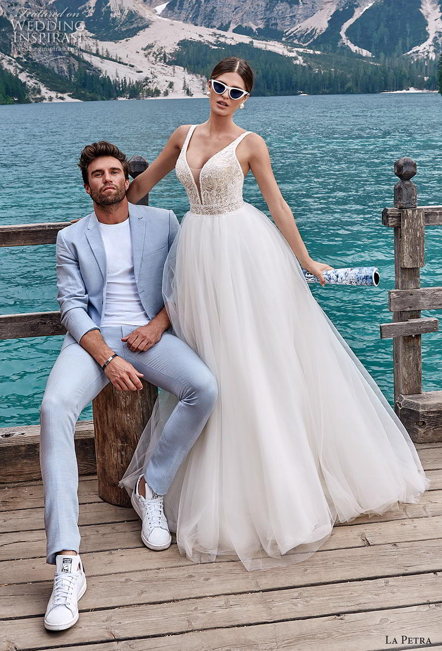 la petra 2020 bridal sleeveless with strap deep plunging v neck heavily tulle skirt embellished bodice soft a  line wedding dress mid back sweep train (8) mv