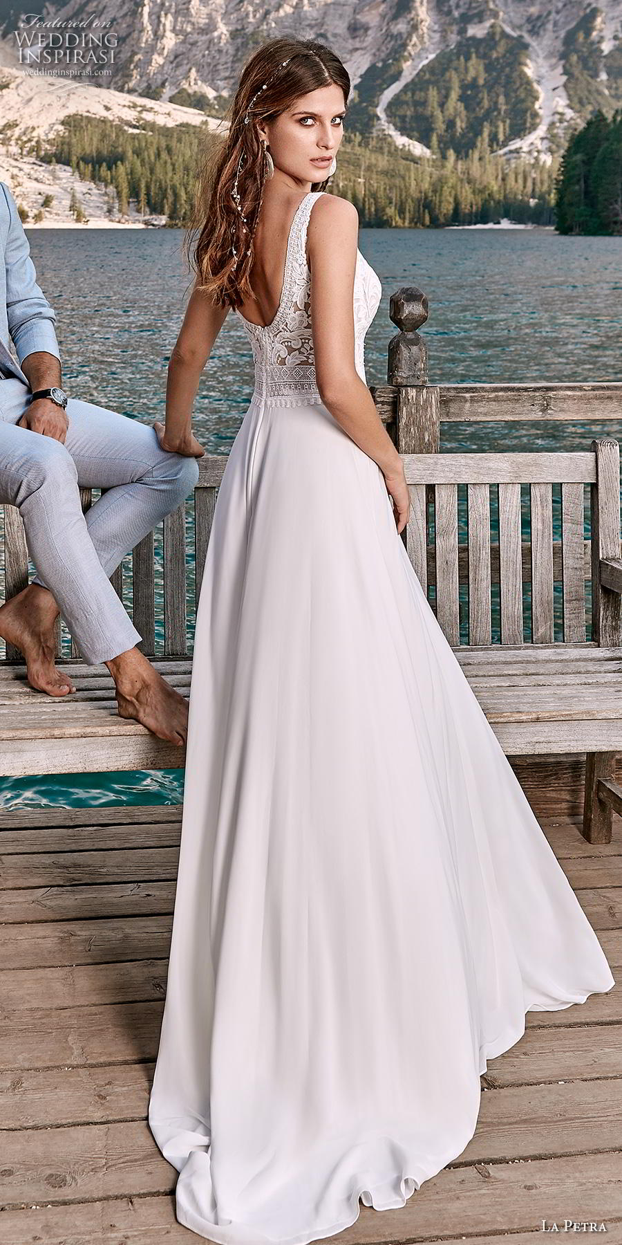 la petra 2020 bridal sleeveless with strap deep v neck heavily embellished bodice elegant a  line wedding dress backless v back sweep train (4) bv