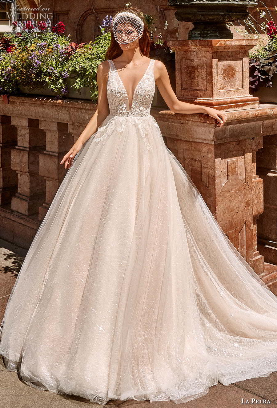 la petra 2020 bridal sleeveless with strap deep v neck heavily embellished bodice romantic ivory a  line wedding dress v back chapel train (12) mv