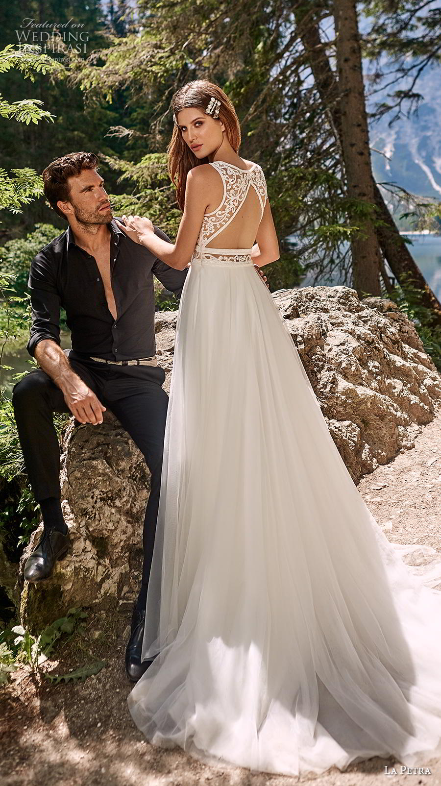 la petra 2020 bridal sleeveless with strap v neck heavily embellished bodice glamorous elegant soft a  line wedding dress keyhole back medium train (6) bv