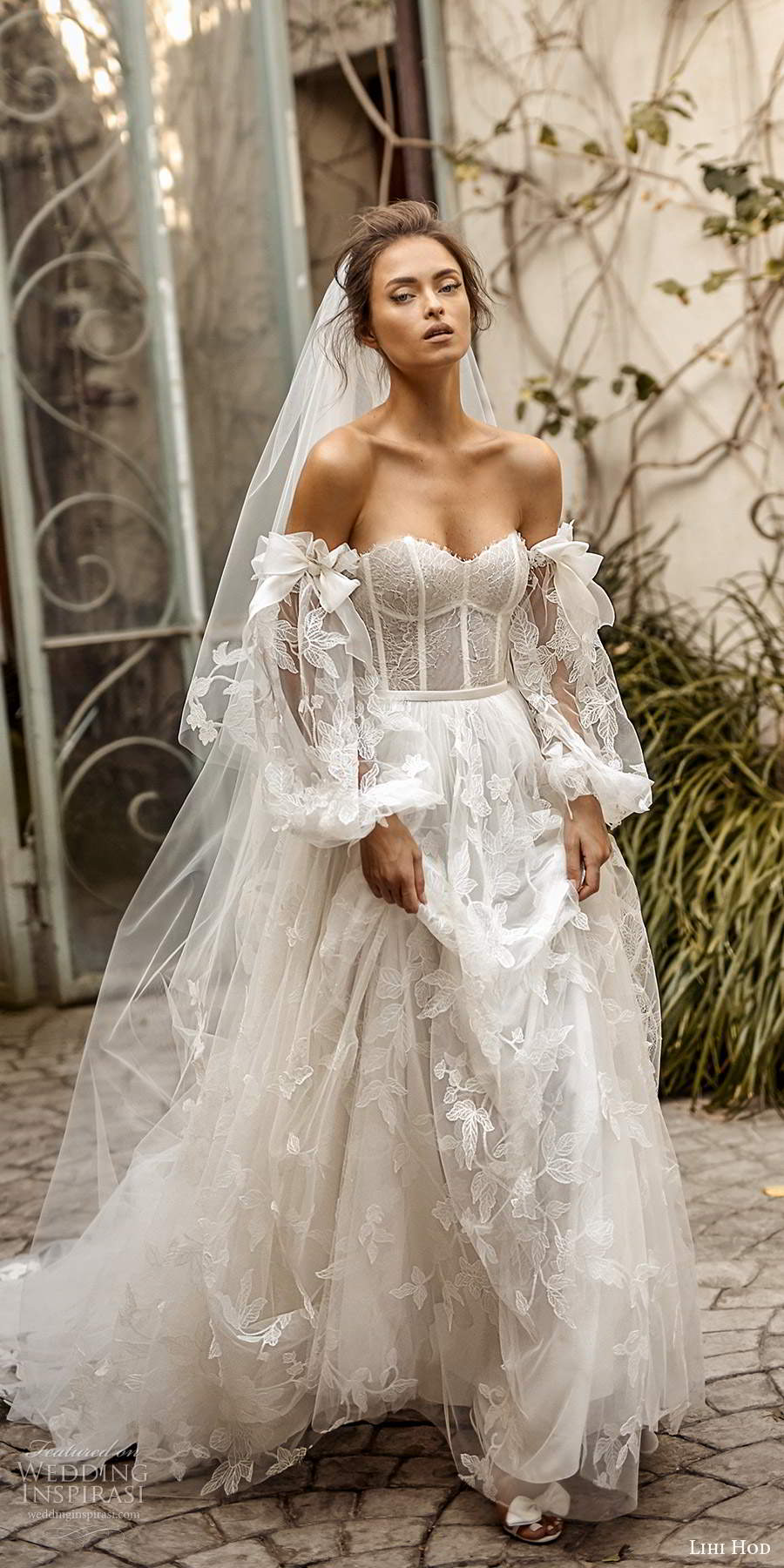 lihi hod fall 2020 bridal detached sheer long balloon sleeves sweetheart neckline fully embellishe lace ball gown a line wedding dress chapel train (6) mv