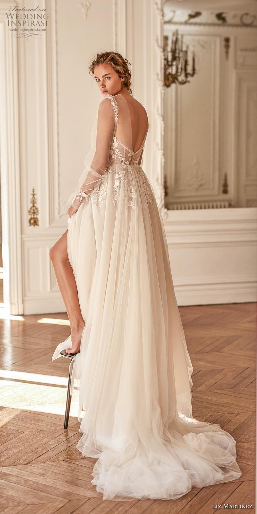 liz martinez 2020 bridal long poet sleeves illusion jewel sweetheart neckline heavily embellished bodice bustier romantic a  line wedding dress sheer back chapel train (9) bv