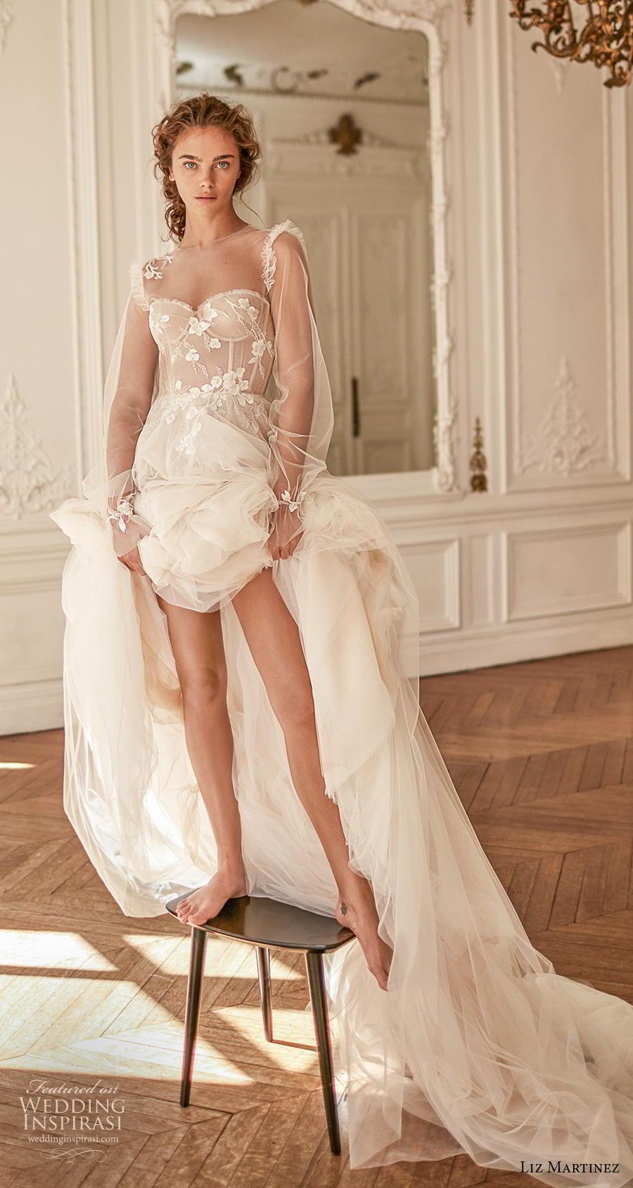 liz martinez 2020 bridal long poet sleeves illusion jewel sweetheart neckline heavily embellished bodice bustier romantic a  line wedding dress sheer back chapel train (9) mv