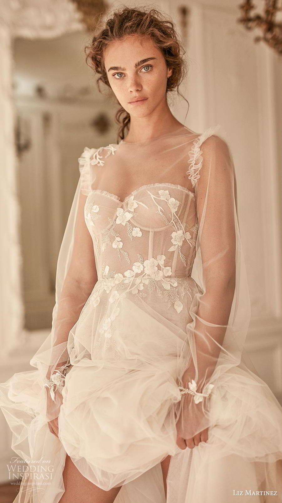 liz martinez 2020 bridal long poet sleeves illusion jewel sweetheart neckline heavily embellished bodice bustier romantic a  line wedding dress sheer back chapel train (9) zv