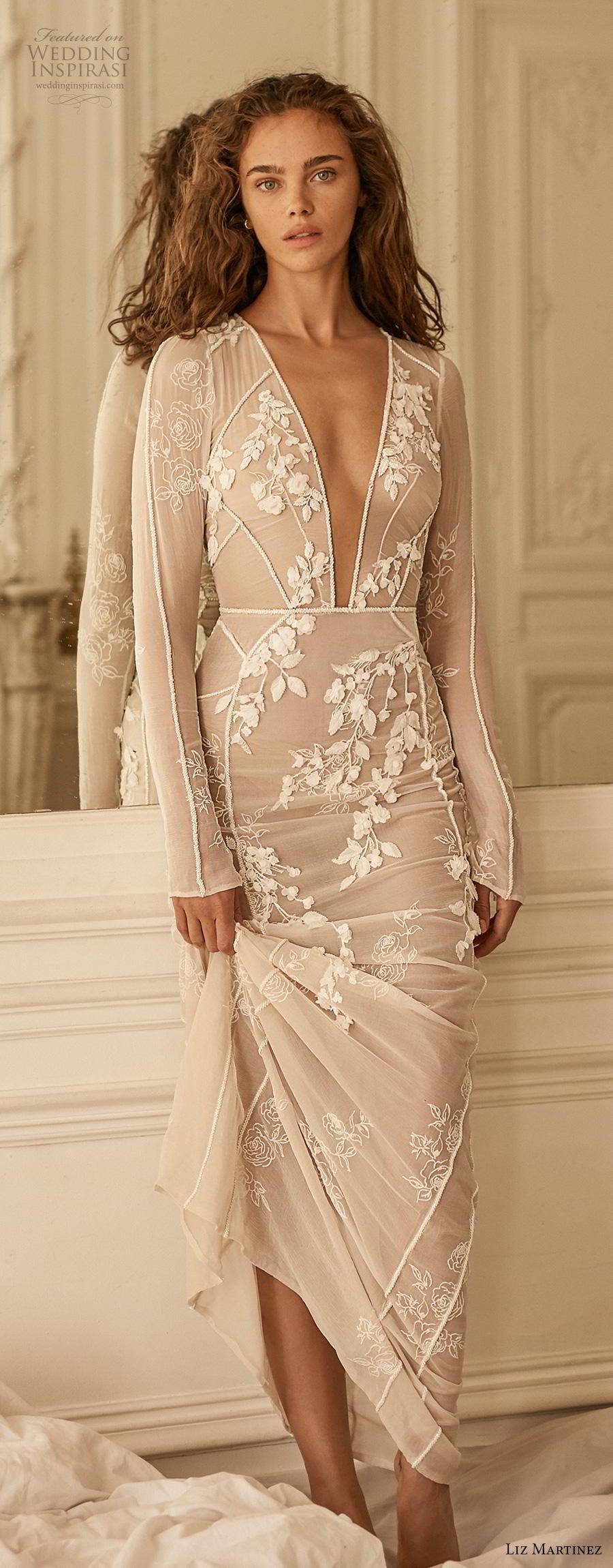liz martinez 2020 bridal long sleeves deep plunging v neck sheer full embellishment sexy elegant sheath wedding dress sweep train (10) lv